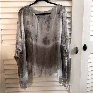 Bella Amore grey hand dyed silk poncho top